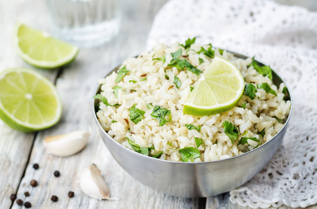 Photo for cilantro lime garlic brown rice. the toning. selective focus - Royalty Free Image