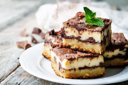 Photo pour chocolate cream cheese bars on a white background - image libre de droit