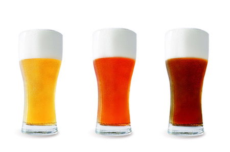 Photo pour Beer list: light, red and dark beers on a white background. toning. selective focus - image libre de droit