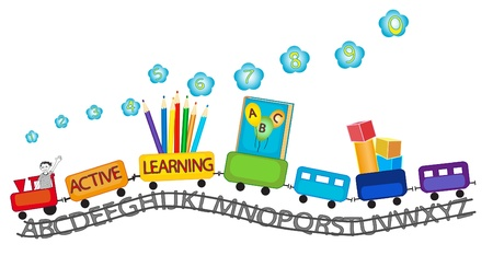 Illustration pour Colorful train with happy smiling kid on and colorful pencils, playing blocks, ABC book, numbers for preschool active learning - image libre de droit