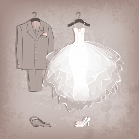 bride dress and groomのイラスト素材