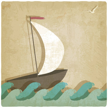Vintage marine with sailboat on waves- vector illustration