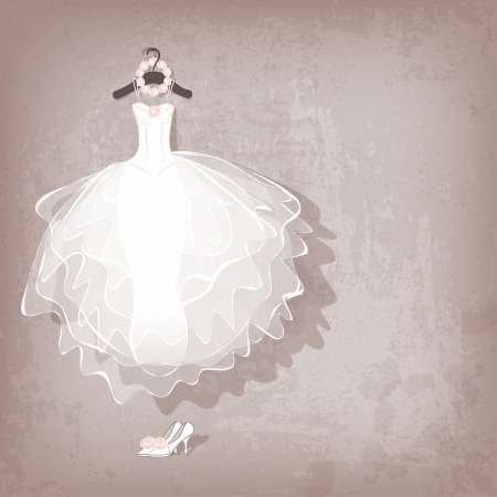 Foto de wedding dress on grungy background - vector illustration - Imagen libre de derechos