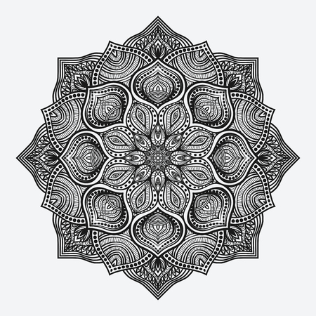 Illustration pour mandala. circular monochrome pattern. vector illustration - image libre de droit