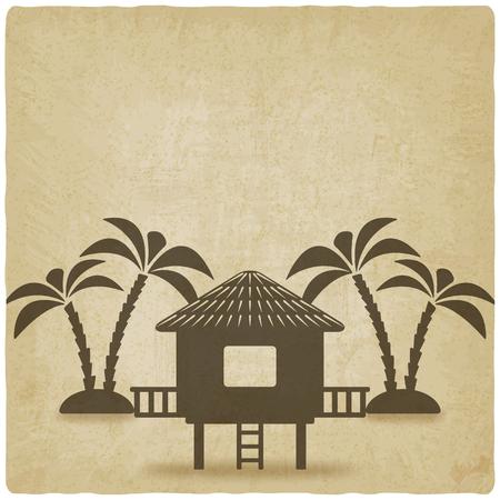 Illustration pour bungalow with palm trees old background. vector illustration - eps 10 - image libre de droit