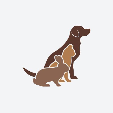 Ilustración de Pets silhouettes. dog, cat and rabbit. logo of pet store or veterinary clinic. vector illustration - eps 8 - Imagen libre de derechos