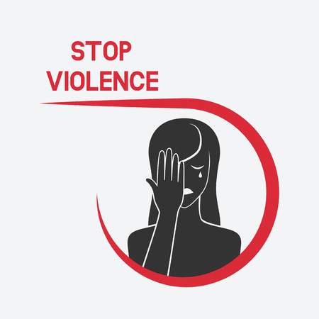 A crying woman. stop violence concept. vector illustration - eps 8