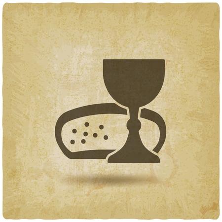 Illustration pour Communion symbol wine and bread vintage background. - image libre de droit