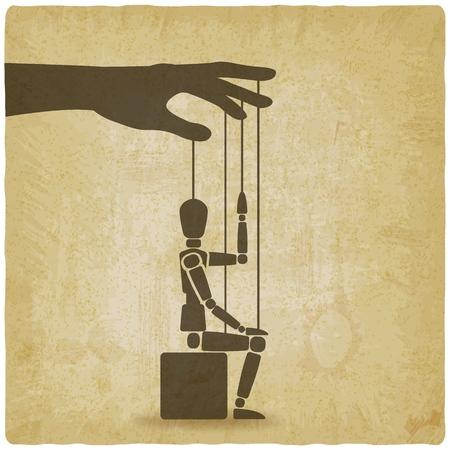 Illustration pour sitting puppet with his hand up vintage background. vector illustration - eps 10 - image libre de droit