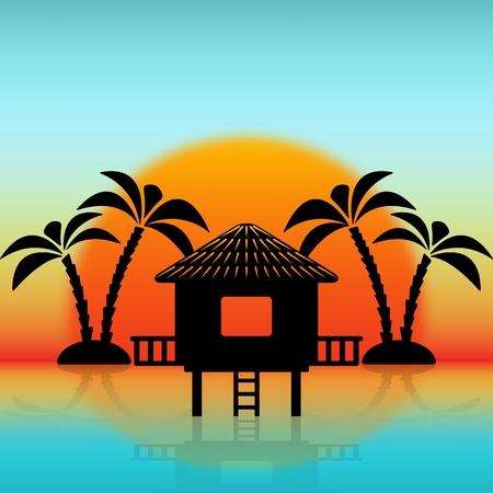 Illustration pour Silhouettes of bungalow and palm trees against rising sun. vector illustration - eps 10 - image libre de droit