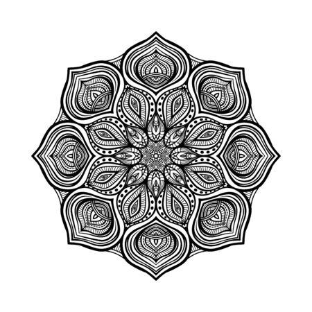 Illustration pour Black floral circular pattern on white background. Coloring book for adults. Vector illustration - image libre de droit