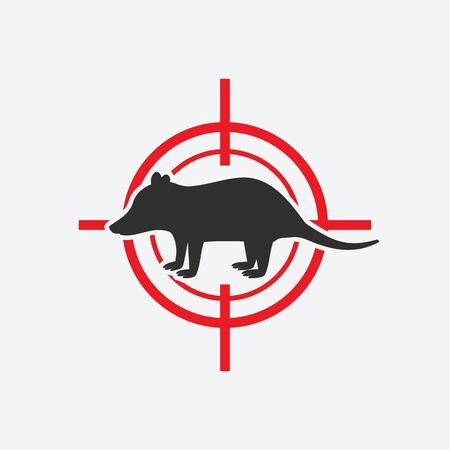 Illustration pour Opossum silhouette. Animal pest icon red target. Vector illustration - image libre de droit