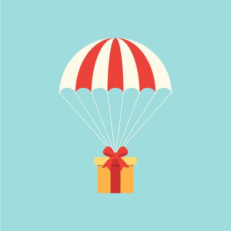 Illustration pour Delivery concept with parachute flat design. - image libre de droit