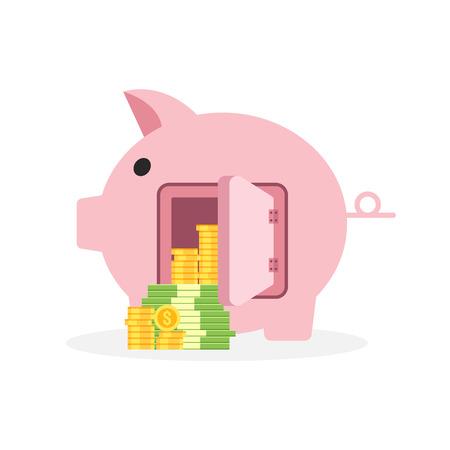 Illustration pour Saving money business concept, piggy bank flat design icon with coin and banknote, vector illustration - image libre de droit