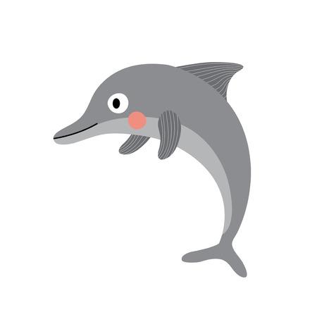 Ilustración de Dolphin animal cartoon character. Isolated on white background. Vector illustration. - Imagen libre de derechos