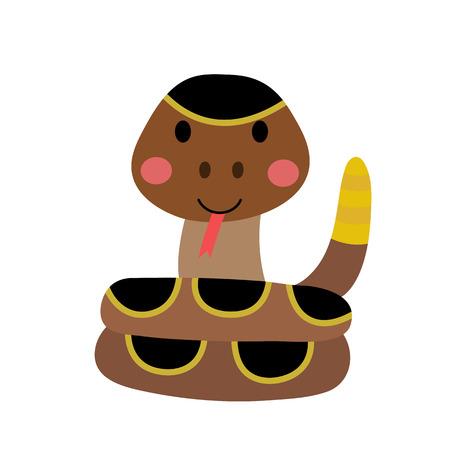 Curled up Rattlesnake animal cartoon character. Isolated on white background. illustration.