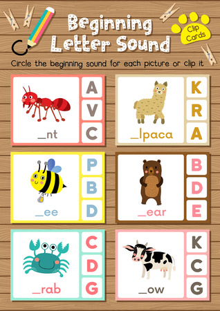 Clip cards matching game of beginning letter sound A, B, C for preschool kids activity worksheet in animals theme colorful printable version layout in A4.