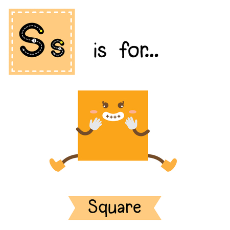 Letter S cute children colorful geometric shapes alphabet tracing flashcard of Square for kids learning English vocabulary.