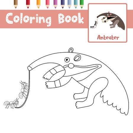 Illustration pour Coloring page of Anteater animals for preschool kids activity educational worksheet. Vector Illustration. - image libre de droit