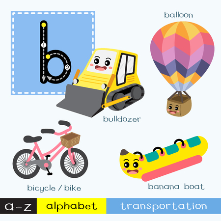 Letter B lowercase children colorful transportations ABC alphabet tracing flashcard for kids learning English vocabulary and handwriting Vector Illustration.