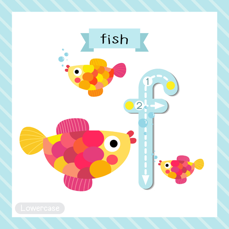 Photo pour Letter F lowercase cute children colorful zoo and animals ABC alphabet tracing flashcard of Colorful Fish swimming for kids learning English vocabulary and handwriting vector illustration. - image libre de droit
