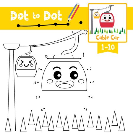 Ilustración de Dot to dot educational game and Coloring book of cute Cable Car cartoon character side view transportations for preschool kids activity about learning counting number 1-10 and handwriting practice worksheet. Vector Illustration. - Imagen libre de derechos