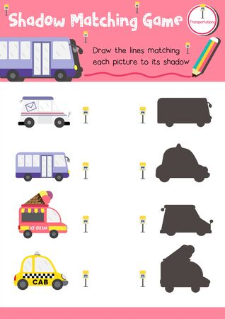 Illustration pour Shadow matching game for preschool kids activity worksheet in Transportation theme colorful printable version layout in A4. - image libre de droit