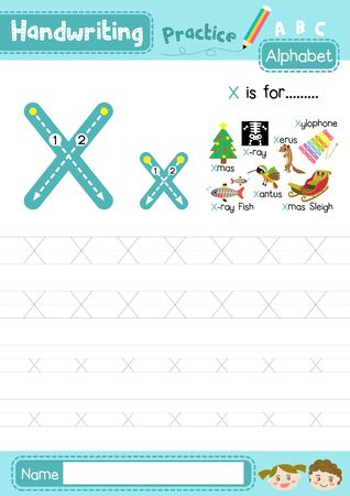 Illustration pour Letter X uppercase and lowercase cute children colorful ABC alphabet trace practice worksheet for kids learning English vocabulary and handwriting layout in A4 vector illustration. - image libre de droit