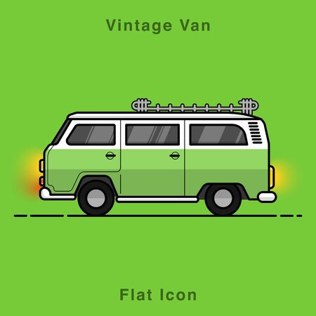 Illustration for Old style two colors minivan. Front view of red retro hippie bus. Line style vector illustration. Vehicle and transport banner. Retro style old car from 60s or 70s. Vintage Classic Van flat icon illustrate. - Royalty Free Image