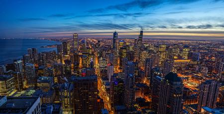 Chicago skyline Sunset Aerial View