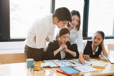 Photo for Business asian people meeting at office diverse employees people group planning work together brainstorm strategy - Royalty Free Image