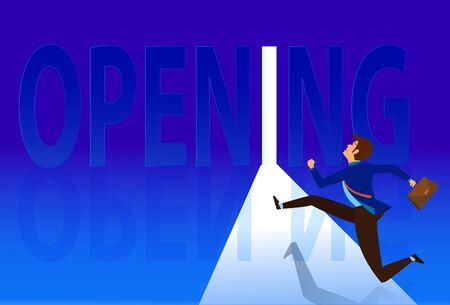 Opening opportunity door Concept,Businessman running at opening door. Symbol of new career, opportunities, business ventures and challenges. vector illustration. Business open working again.