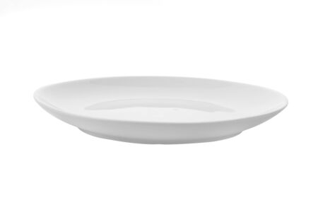 Photo pour Empty white plate isolated on a white background - image libre de droit