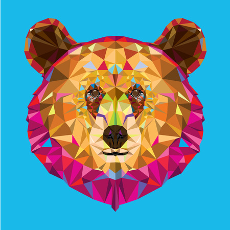 Head of grizzly bear in geomeyric pattern