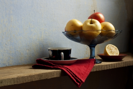 still life with lemon and apples  in holland classic style