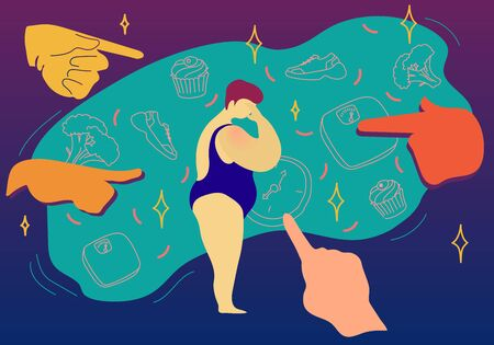 Illustration for Fat shaming concept vector illustration. Sad plus size woman in swimwear had a mockery of society , showing her with hands what to eat and how to live - Royalty Free Image