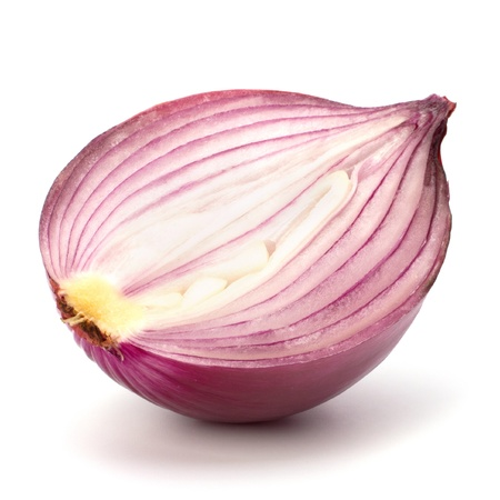 Red sliced onion half isolated on white background