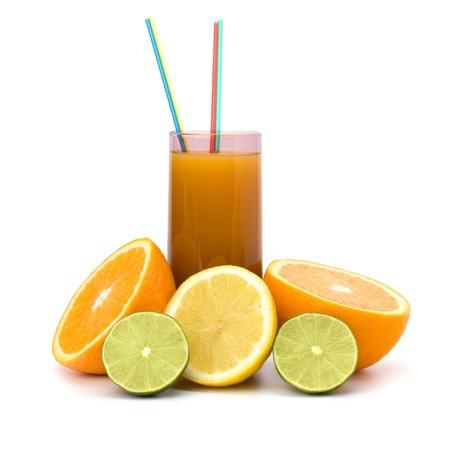 Citrus fruit juice isolated on white background