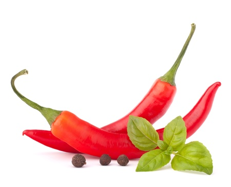 Hot red chili or chilli pepper and basil leaves still life isolated on white background cutout