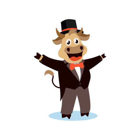 Illustration for Cute cartoon bull in a tailcoat on a white isolated background. Vector illustration with the symbol of the Chinese New year 2021. - Royalty Free Image