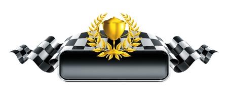 Illustration pour Racing banner with trophy - image libre de droit