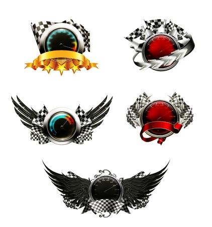 Illustration pour Set of racing emblems - image libre de droit