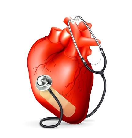 Illustration pour Heart and stethoscope - image libre de droit