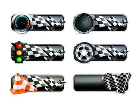 Illustration pour Racing banners set - image libre de droit