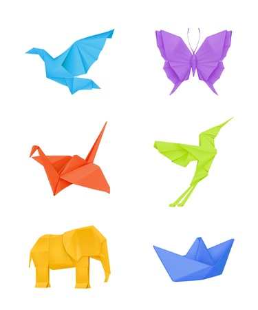 Illustration for Origami set, multicolored - Royalty Free Image