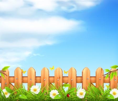 Illustration pour Spring background, grass and wooden fence - image libre de droit