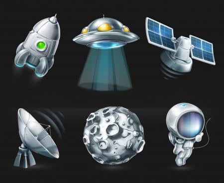 Space, icon set on black