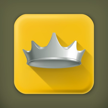 Silver crown, long shadow vector icon