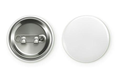 Blank white badge, vector realistic illustration