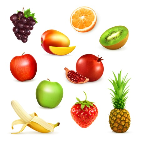 Fruits, set of illustrations